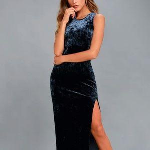 Lulu's Love & Memories Navy Blue Velvet Maxi Dress